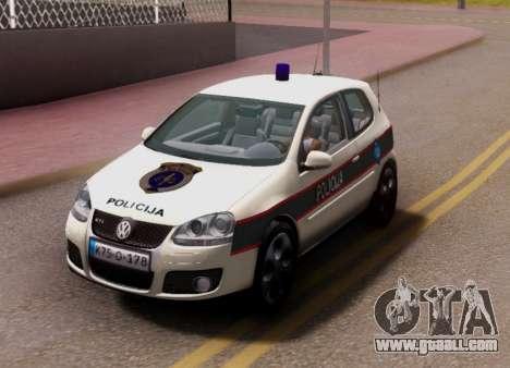 Golf V BIH Police Car V2 (Single Siren) for GTA San Andreas back view