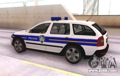 Skoda Octavia Scout Croatian Police Car for GTA San Andreas back view