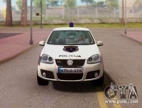 Golf V BIH Police Car V2 (Single Siren) for GTA San Andreas inner view