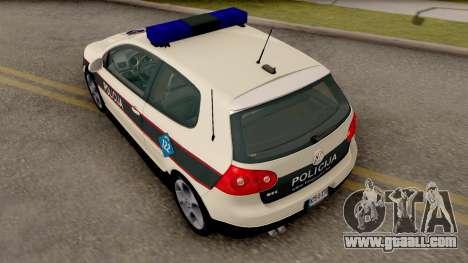 Volkswagen Golf V - BIH Police Car for GTA San Andreas back view