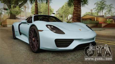 Porsche 918 Spyder for GTA San Andreas back left view