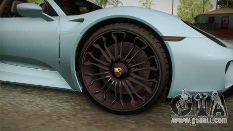 Porsche 918 Spyder for GTA San Andreas back view