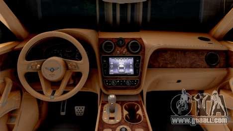 Bentley Bentayga for GTA San Andreas inner view