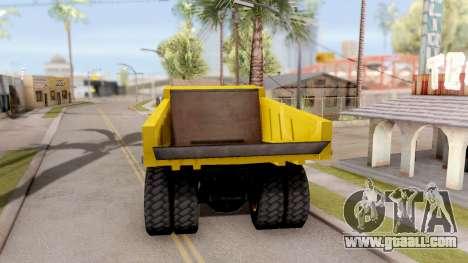 Realistic Dumper Truck for GTA San Andreas back left view