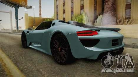 Porsche 918 Spyder for GTA San Andreas right view