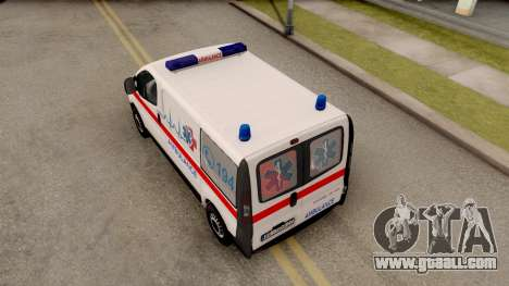 Opel Vivaro Serbian Ambulance for GTA San Andreas back view