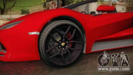 GTA 5 Pegassi Tempesta Spyder for GTA San Andreas back view