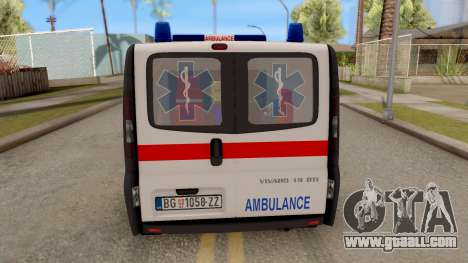 Opel Vivaro Serbian Ambulance for GTA San Andreas back left view