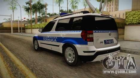 Skoda Yeti Serbian Traffic Police for GTA San Andreas back left view