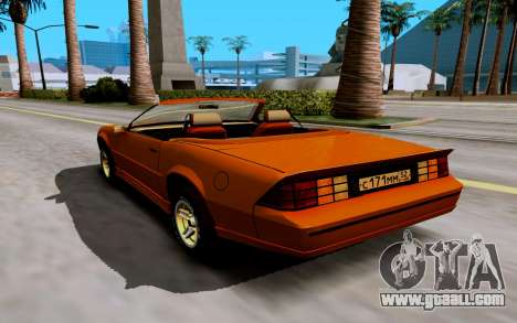 Chevrolet Camaro SS 1985 Cabriolet for GTA San Andreas back left view