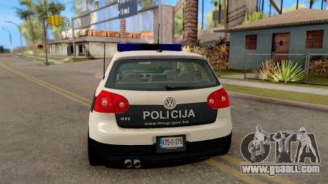 Volkswagen Golf V - BIH Police Car for GTA San Andreas back left view