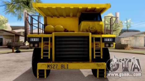 Realistic Dumper Truck for GTA San Andreas inner view