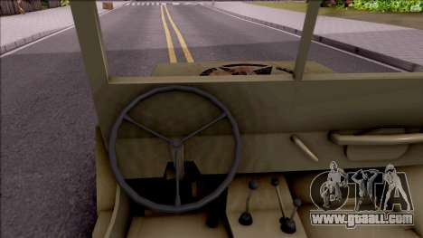 Jeep Willys MB Military for GTA San Andreas inner view