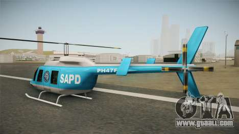 Serbian Police Helicopter for GTA San Andreas back left view