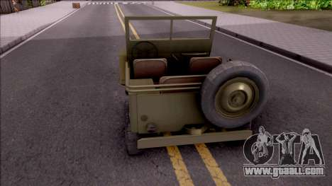 Jeep Willys MB Military for GTA San Andreas back left view