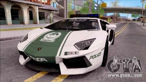 Lamborghini Aventador LP700-4 Dubai HS Police for GTA San Andreas