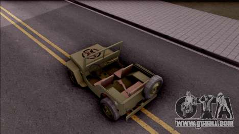 Jeep Willys MB Military for GTA San Andreas back view
