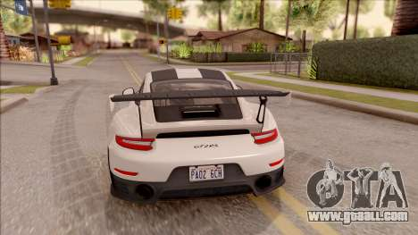 Porsche 911 GT2 RS Weissach Package SA Plate for GTA San Andreas back left view