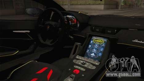 Lamborghini Centenario LP770-4 v2 for GTA San Andreas inner view