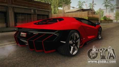 Lamborghini Centenario LP770-4 v2 for GTA San Andreas back left view