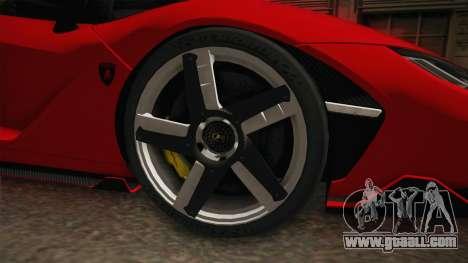 Lamborghini Centenario LP770-4 v2 for GTA San Andreas back view