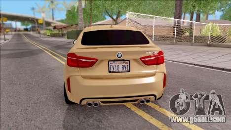 BMW X6M F86 2016 SA Plate for GTA San Andreas back left view