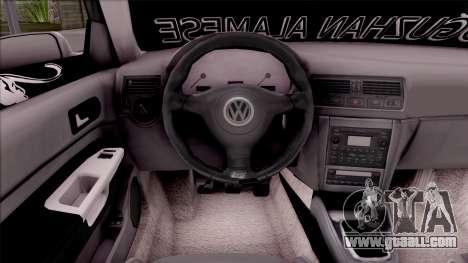 Volkswagen Golf 4 for GTA San Andreas inner view