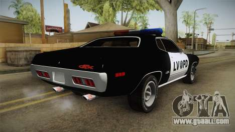 Plymouth GTX Police LVPD 1972 for GTA San Andreas right view