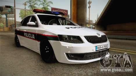 Skoda Octavia Police for GTA San Andreas back left view