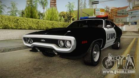Plymouth GTX Police LVPD 1972 for GTA San Andreas back left view