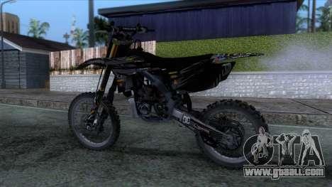 Yamaha YZ 250 FMX for GTA San Andreas back left view