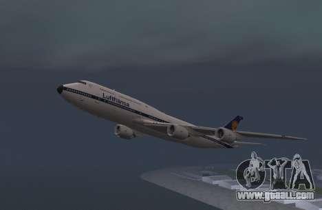 Lufthansa 747-8i Retro Livery for GTA San Andreas back left view