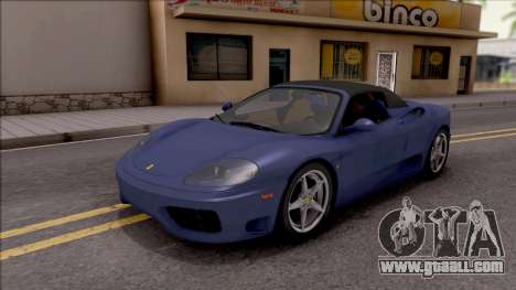 Ferrari 360 Spider US-Spec 2000 IVF for GTA San Andreas bottom view