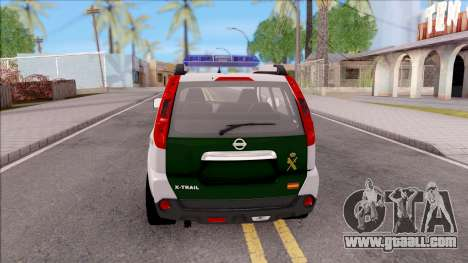 Nissan X-Trail Guardia Civil Spanish for GTA San Andreas back left view