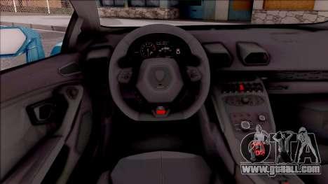 Lamborghini Huracan LB Team-eXtreme for GTA San Andreas inner view