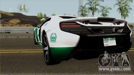 McLaren 650S Spyder Dubai Police v1.0 for GTA San Andreas back left view