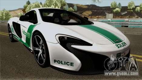 McLaren 650S Spyder Dubai Police v1.0 for GTA San Andreas inner view