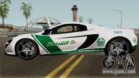 McLaren 650S Spyder Dubai Police v1.0 for GTA San Andreas left view