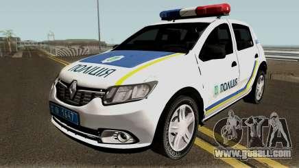 Renault Sandero 2013 Police Of Ukraine for GTA San Andreas