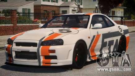 Nissan Skyline GT-R R34 PJ2 for GTA 4