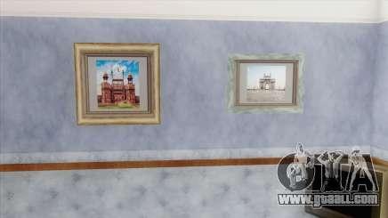 Indian Landmark Photos In CJ House for GTA San Andreas