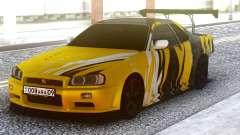 Nissan Skyline R34 GT-R Yellow & Black for GTA San Andreas