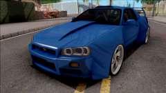 Nissan Skyline R34 GT-R Blue for GTA San Andreas