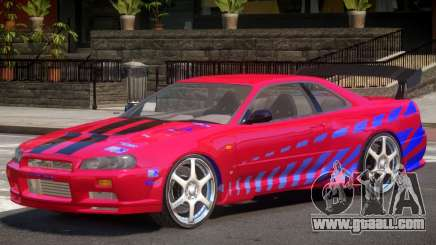 Skyline GT-R34 V1 PJ for GTA 4