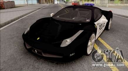 Ferrari 458 Italia 2015 Police Car for GTA San Andreas