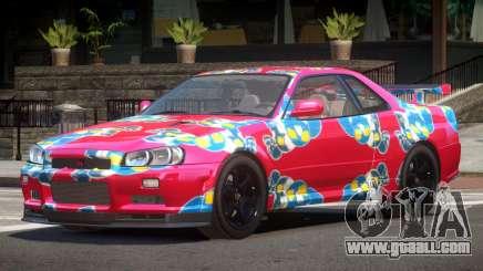Nissan Skyline R34 E-Style PJ7 for GTA 4