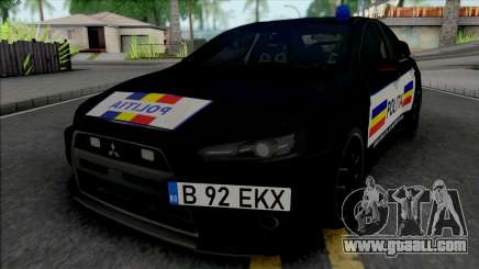 Mitsubishi Lancer Evolution X Politia Romana for GTA San Andreas